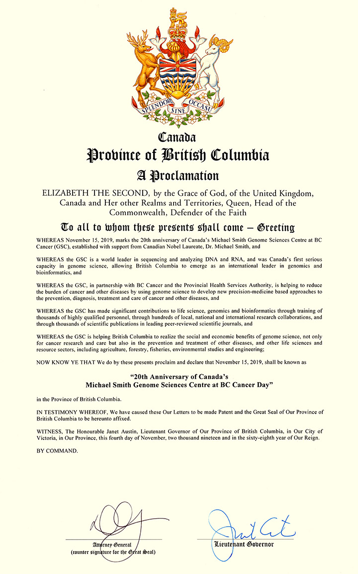 """B.C. Government Proclamation donating 15 November 2019 as """"20th Anniversary of Canada's Michael Smith Genome Sciences Centre at BC Cancer Day"""""""