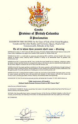 "B.C. Government Proclamation donating 15 November 2019 as ""20th Anniversary of Canada's Michael Smith Genome Sciences Centre at BC Cancer Day"""